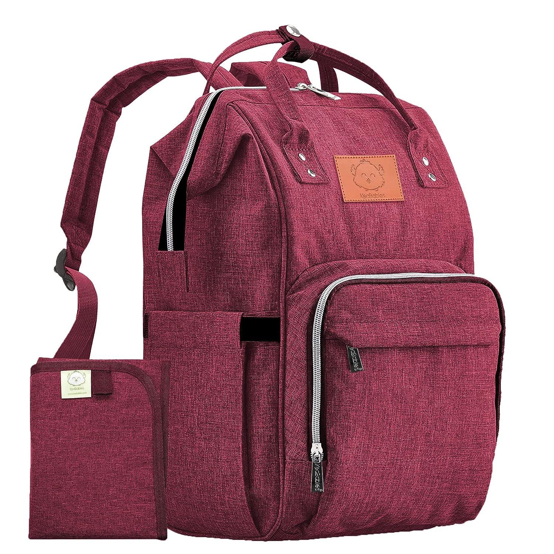 Diaper Bag Backpack - Large Waterproof Travel Baby Bags (Wine Red)