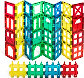 Magnetic Stick N Stack Award Winning Shape Mags 36 Pieces Clear transperent Colors JUST 3x3 Squares 9 Different Designs, Compatible with Magna Tiles and Other Brands
