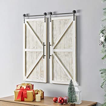 """FirsTime & Co. Carriage House Barn Door Wall Plaque Set, 34""""L x 14""""W, Aged White, Metallic Gray"""