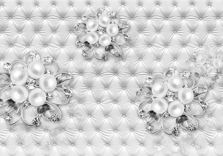 Wandmotiv24 Fototapete Grau Ornamenten Leder Polsterung Diamant Blaumen Perlen Kugeln Silber Luxuriös M2029 XL 350 x 245 cm - 7 Teile Wandbild - Motivtapete B07KM3WJ64