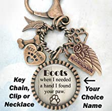 When I Needed A Hand I Found Your Paw, Dog Memorial, Custom Name, Clip, Key Chain or Necklace, Unisex Design, Sympathy, Bereavement Gift, Loss of Dog