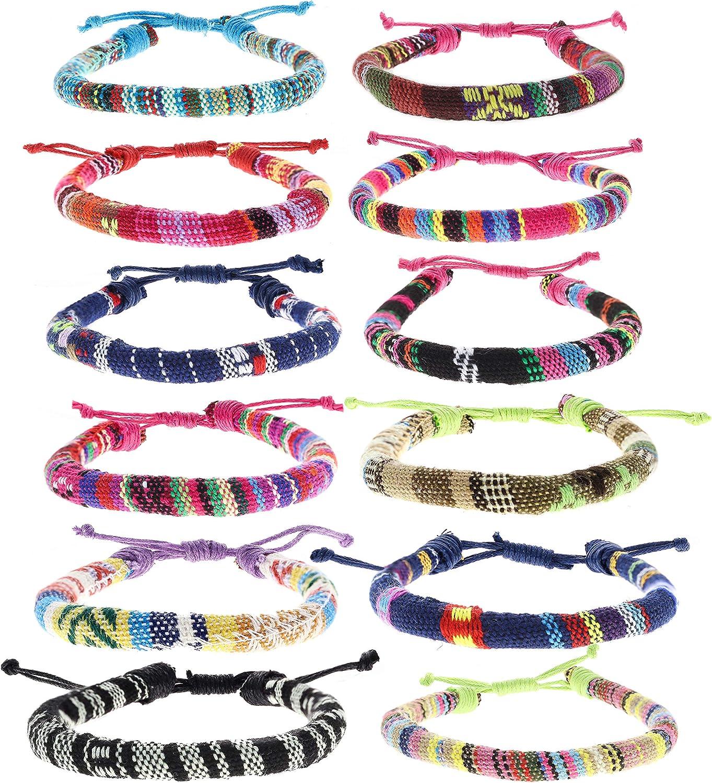 FROG SAC 12 VSCO Bracelets for Teen Girls, VISCO Girl Braided Friendship Bracelets for Women and Men, VSCO Girl Stuff, Boho Woven Rope String Bracelets for Teens, Friendship Bracelet Pack