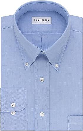 Van Heusen - Camisa de vestir para hombre, ajuste regular Oxford, cuello de botón sólido