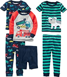 Garçon 6-piece Snug Fit Cotton Pajama Set