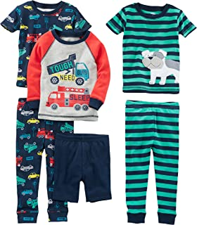 Baby, Little Kid, and Toddler Boys' 6-Piece Snug Fit Cotton Pajama Set