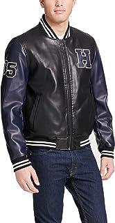 Men's Faux Leather Varsity Logo Bomber Jacket
