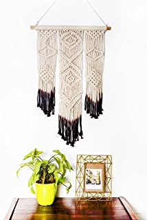 Macrame Wall Hanging Brown Woven Large Tapestry - Handmade Bohemian Home Decor - Boho Chic Apartment Studio or Dorm Decorative Interior Wall Art - Office Living Room Bedroom Nursery Craft Decorations