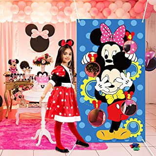 PANTIDE Mickey Mouse Toss Games with 4 Bean Bags, Mickey Minnie Mouse Indoor Outdoor Party Games, Mickey Themed Birthday Party Decoration Supplies, Great Throwing Games Large Banner for Kids and Adult