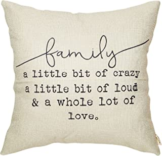 """Best Fjfz Family a Little Bit of Crazy a Little Bit of Loud and a Whole lot of Love Rustic Decoration Farmhouse Décor Cotton Linen Home Decorative Throw Pillow Case Cushion Cover for Sofa Couch, 18"""" x 18"""" Review"""