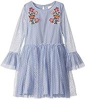 Mesh Dot Embroidered Dress (Big Kids)