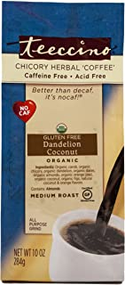Teeccino Dandelion Coconut Organic Chicory Herbal Coffee, Caffeine Free, Gluten Free, Acid Free, Prebiotic, Coffee Substitute, 10 Ounce