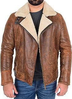 Mens Real Sheepskin Jacket Brown Antique Cross Zip Aviator Pilot Flying B3 Bomber Coat Blen