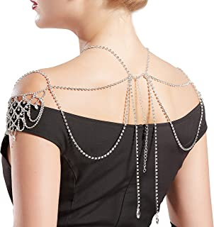 Vintage Bridal Shoulder Chain Crystal Necklace Chain Crystal Body Chain Jewelry for Wedding Party
