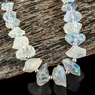 225+ cts Angel Aura Quartz Crystals, Mystic Aura Quartz, Rough Disc Strand, Natural Gemstone, Crystals Specimen, Rock Minerals, Crystals for Jewelry, Loose Beads Strand, 16+ Beads, 16cm Strand.