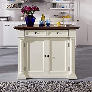 Beacon Hill White Kitchen Pantry with Cherry Wood Top by Home Styles