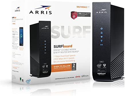 $144 Get ARRIS Surfboard SBG7400AC2 Cable Modem/Wi-Fi Router with McAfee, 1000548