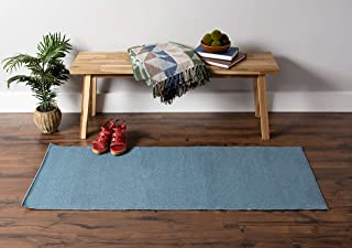 J&M Home Fashions Contemporary Runner, Perfect for Bedroom, Living, Kitchen, Laundry, Wash Room, Nursery, Loft, Office, 22x60, Blue