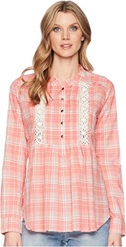 1600 Coral Plaid Long Sleeve Tunic