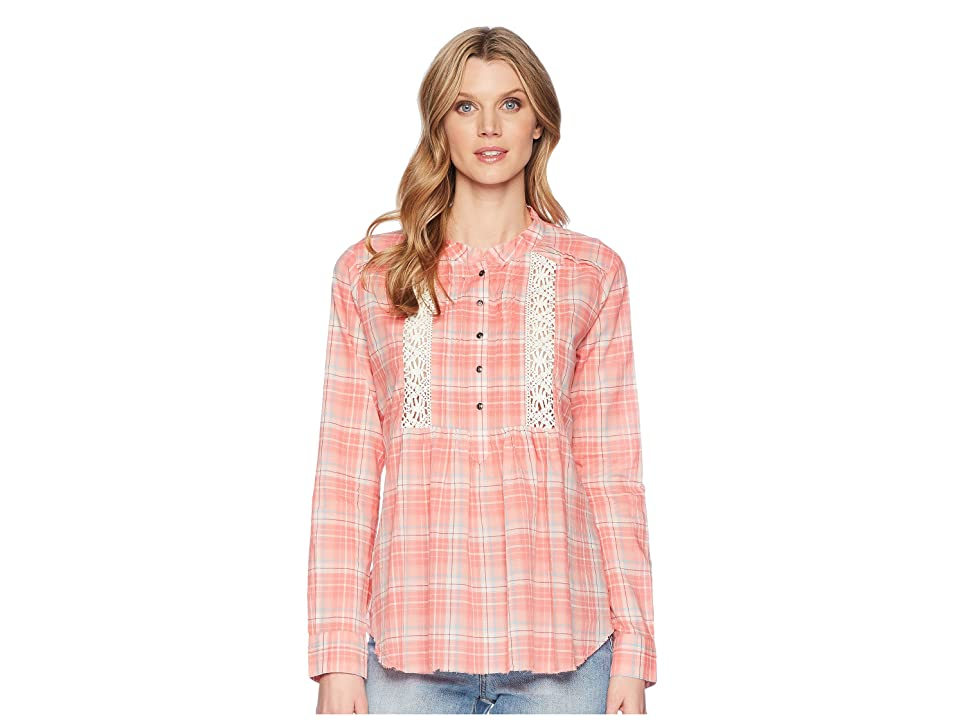 Roper 1600 Coral Plaid Long Sleeve Tunic (Orange) Women
