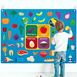 WATINC My Plate Felt-Board Stories Set 3.5Ft 53Pcs Preschool Vegetables Fruit Protein Grains Flannel Food Diary Classroom Theme Early Learning Play Kit Wall Hanging Gift for Toddlers Kids