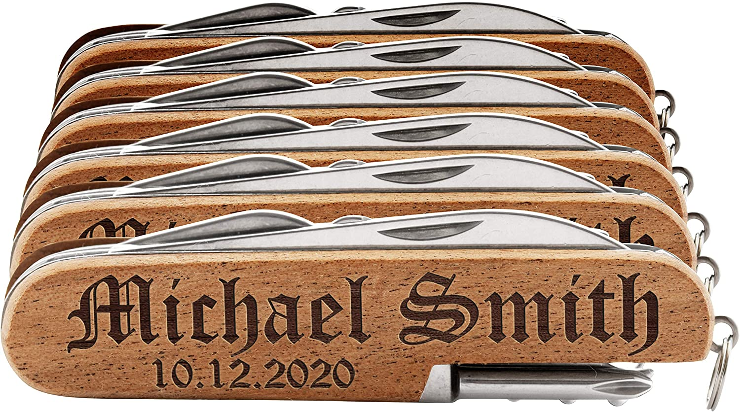 Set of High quality 6 - Personalized Pocket Knife Name 10 Date Font w Max 43% OFF Opti