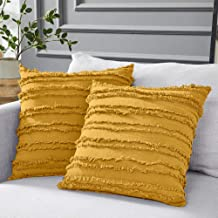 Longhui bedding Mustard Yellow Cotton Linen Throw Pillow Covers for Couch Sofa Bed, Decorative Throws Cushion Covers, 18 x 18 inches, Set of 2