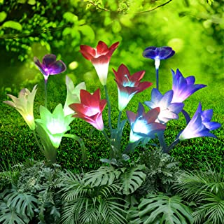 ONM Outdoor Solar Lights – Decorative Led Flowers for Patio and Garden – 3 pcs Solar Lilly Light with Iron Stakes – 12 Mul...