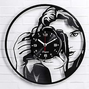 "Vinyra Photographer Vinyl Record Wall Clock - Camera themed Gift Set Idea for Photography Lovers Photo Hobby Enthusiasts Women Girls Teens Her Kids - Room Home Decorations Art Decor 12"" LP Clock Black"