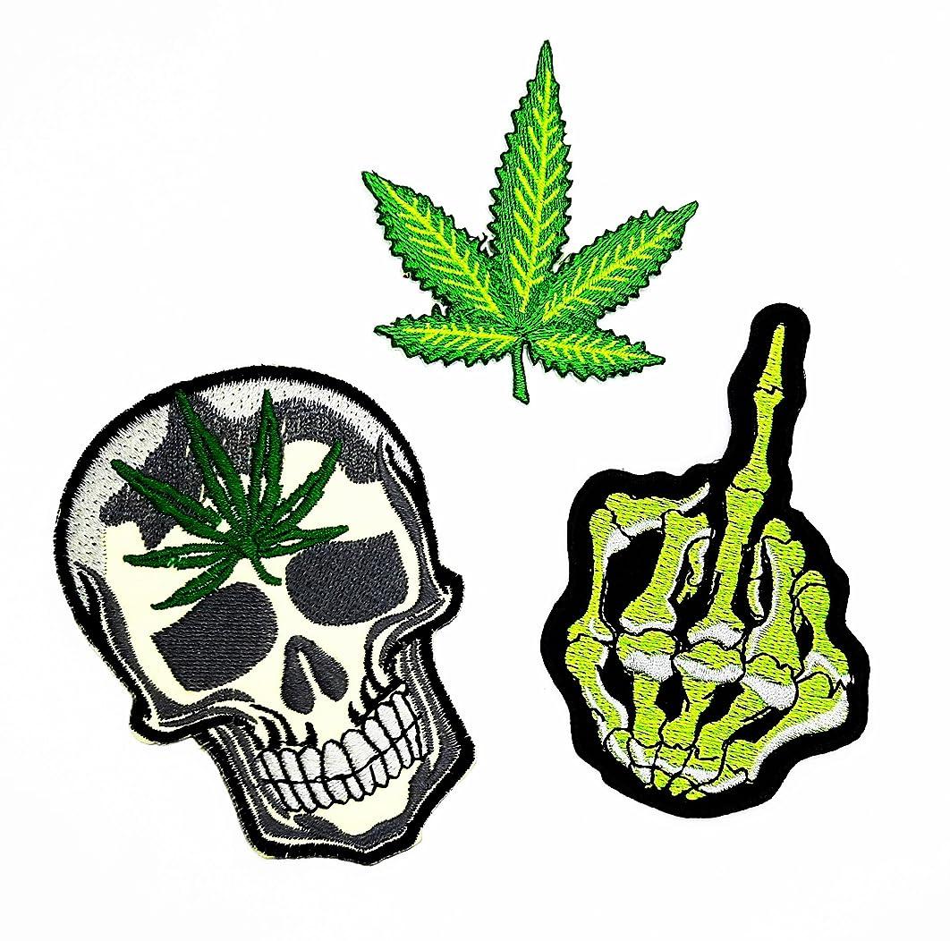PP Patch Set 3 Skull Middle Finger Skeleton,Marijuana Leaf Pot Weed,Skull Weed Marijuana Leaf Patch for Bags Jacket T-Shirt Embroidered Sign Badge Costume DIY Applique Iron on Patch