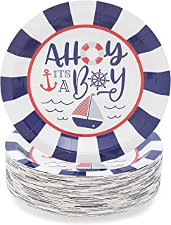 Baby Shower Party Supplies, Ahoy It's a Boy Paper Plates (9 In, 80-Pack)