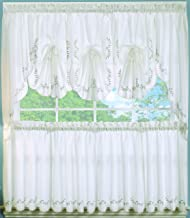 The_Curtain_Shop Forget Me Not Embroidered Ensemble Fan Insert White/Blue