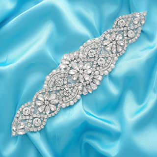 Fabrichouse Beaded Crystal Rhinestone Applique Hotfix Crystal Pieces for Wedding Dress Bridal Belt and Sash Sewing Clothing Accessories (Silver)