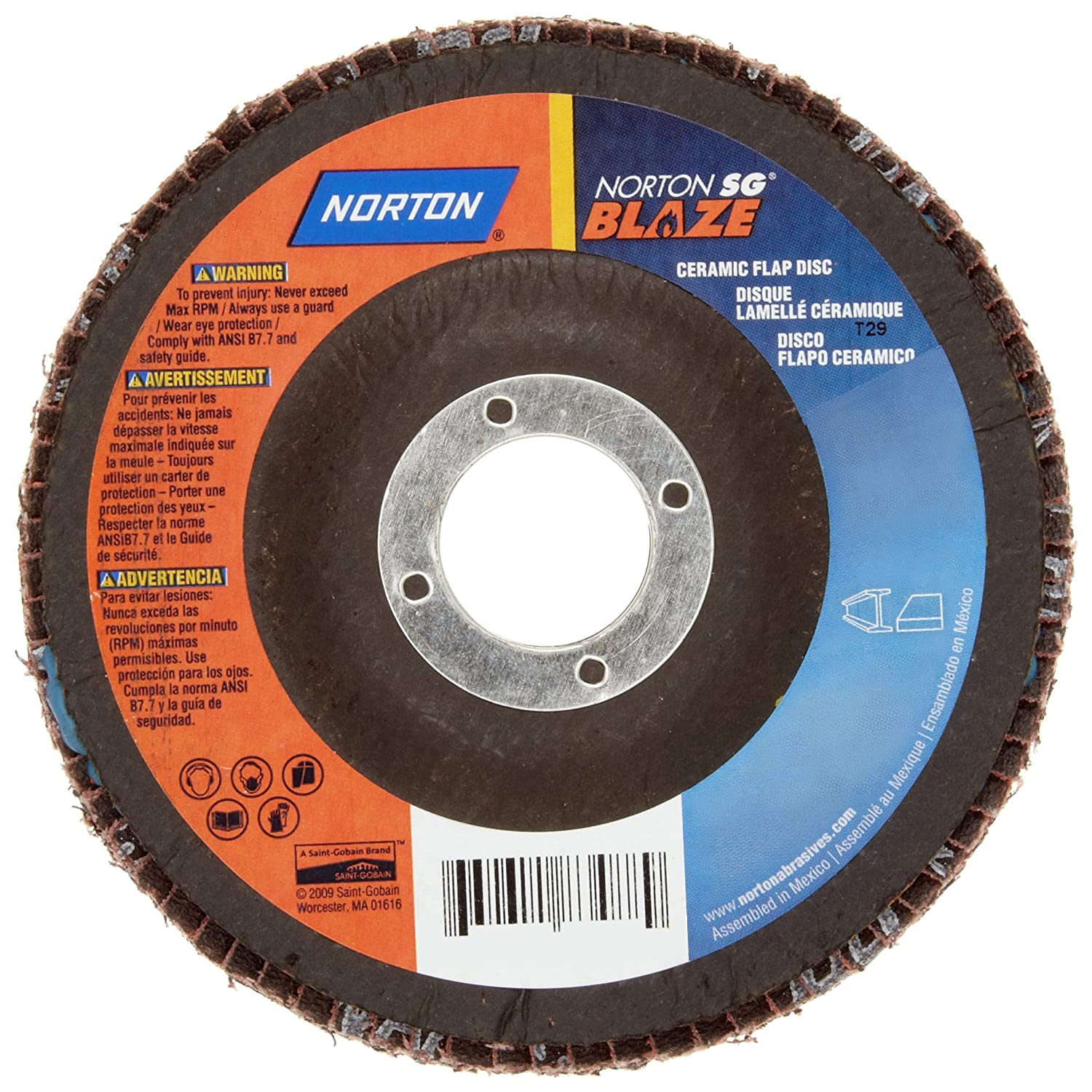 Ceramic Aluminum Oxide Grit 36 Box of 25 Fiber Backing 4-1//2 Diameter Norton SG Blaze F980 Abrasive Disc 7//8 Arbor