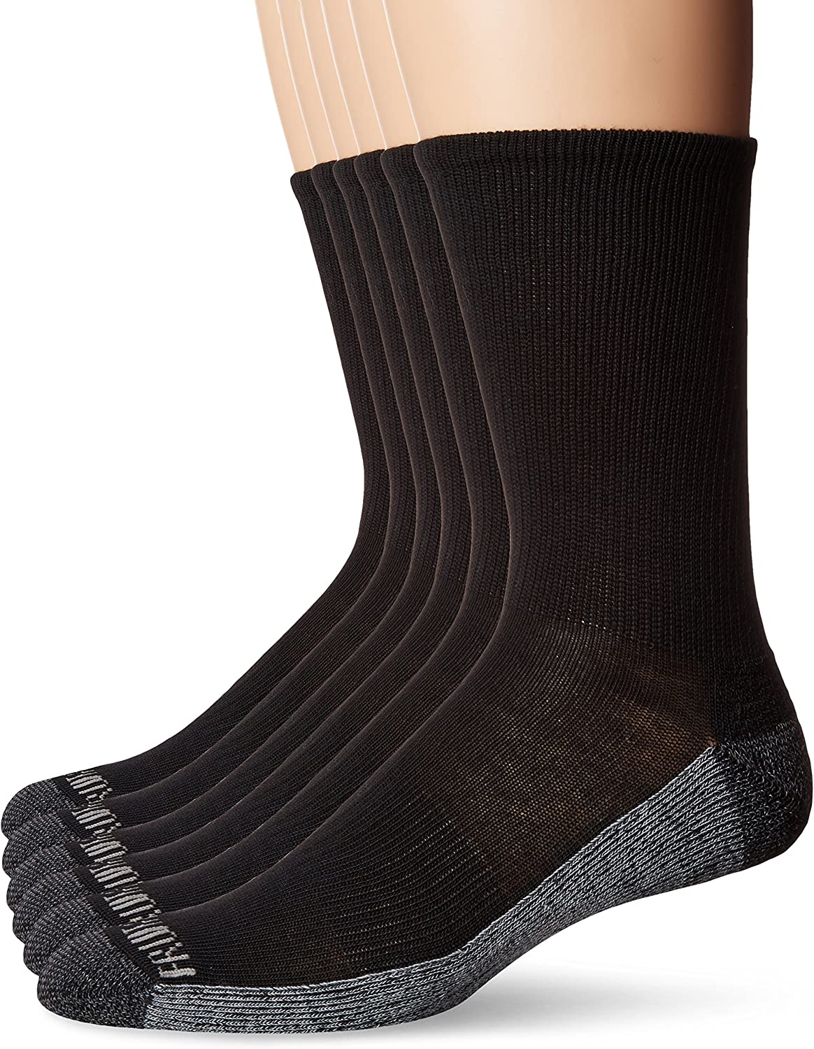 Fruit of the Loom Men's Essential 6 Pack Casual Crew Socks | Arch Support | Black & White, Black, Shoe Size: 6-12 at  Men's Clothing store