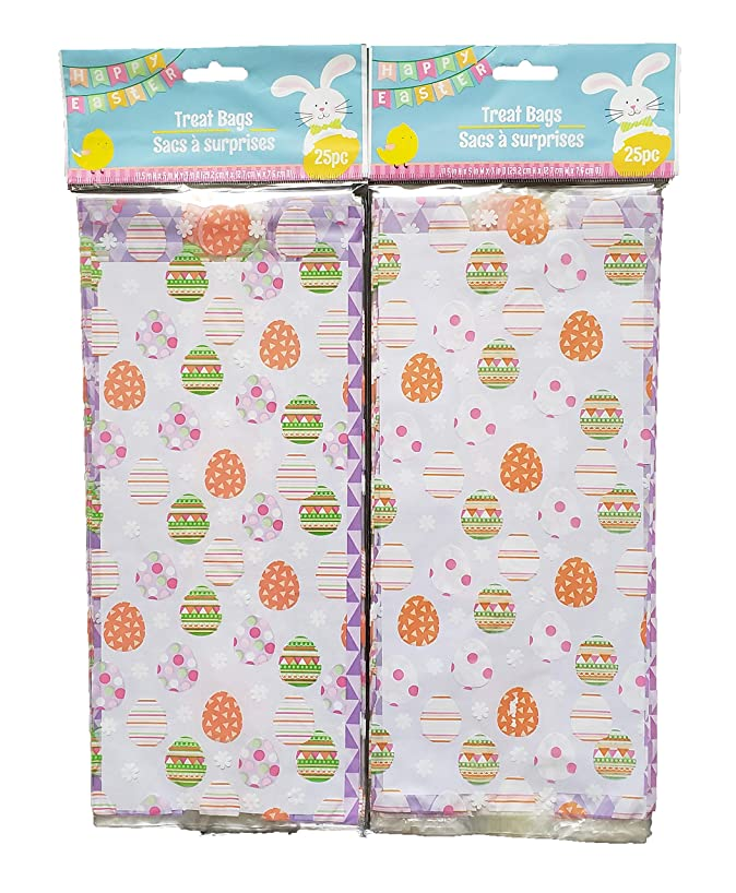 Easter Themed Loot Treat Bags - Painted Egg Pattern - 50 Pack