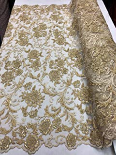 Beaded Lace Embroided Fabric with Flower and Leaf Designs - Gold - Fancy Elegant Embroidery Lace Design Mesh Fabrics Sold by The Yard