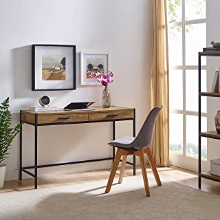 Writing Desk by CAFFOZ Furniture Designs | Study Computer Desk | Oak Brown | Laptop PC Table Workstation with 2 Drawers for Home Office | Storage Space Saver