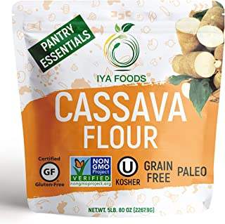 Iya Foods Premium Cassava Flour 5 lb. bags, Plant-Based, Grain-Free, Certified Gluten-Free, Kosher Certified, Non-GMO Verified, Allergen-Free, Paleo, Natural, All-Purpose Flour