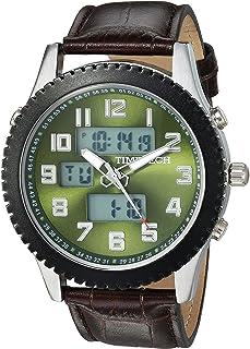 ساعة منبه رياضية للرجال من تايم تيك انالوج ورقمية مع حزام جلدي متوافق ومينا سهلة القراءة