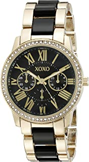 XOXO Womens Quartz Watch, Analog Display and Gold Plated Strap XO5874