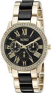 ساعة اكس او اكس او كوارتز للنساء، انالوج بعقارب بسوار مطلي بالذهب XO5874