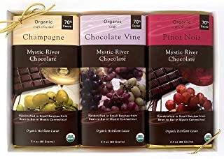 Mystic River Chocolate Wine Lovers Organic 3-Bar Gift Box: (1) Champagne Chocolate Bar (1) Mystic River Chocolate Vine Bar (1) Pinot Noir Chocolate Bar