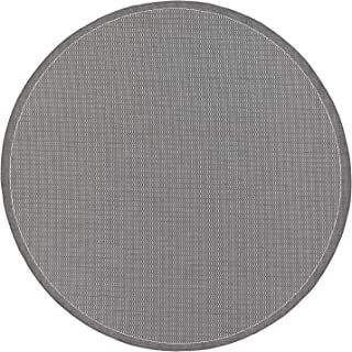 Couristan 1001/3012 Recife Saddle Stitch/Grey-White 8-Feet 6-Inch Round Rug