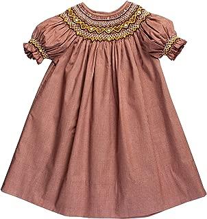 Rosalina Little Girl's Dk. Brown Gingham Smocked Heart & Flower Bishop Dress