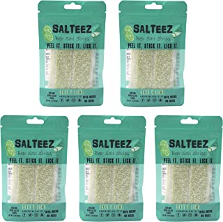 Salteez Beer Salt Strips - Real Salt & Lime Flavor Strips That Stick to Your Bottle, Can, or Cup - For a Perfectly Dressed Beer Anytime Anywhere! (Salt & Lime, 5 Pack)