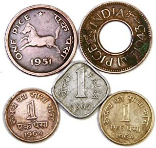 HISTORICAL INDIA™ - ONE PAISA ( Pice) Coins Collection 5 Coins - Brass, Copper Aluminium Coins