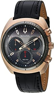 Bulova - Curv Collection 98A156 - Reloj analógico de cuarzo para hombre, acero inoxidable, correa de piel y cocodrilo, color negro, 22 (modelo: 98A156)