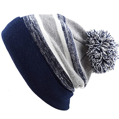 120d201cf05 THE HAT DEPOT Winter Soft Unisex Cuff Pom Pom Stripe Knit Beanie Skull  Slouch Hat