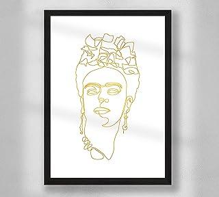 Decorazione da parete - Frida One Line Art Poster Premium Gold Print Wall Poster per soggiorno, formato A4, senza cornice,...
