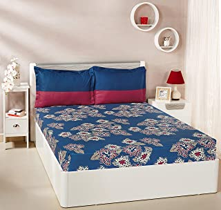Amazon Brand - Solimo Floral Flakes 144 TC 100% Cotton Double Bedsheet with 2 Pillow Covers, Blue